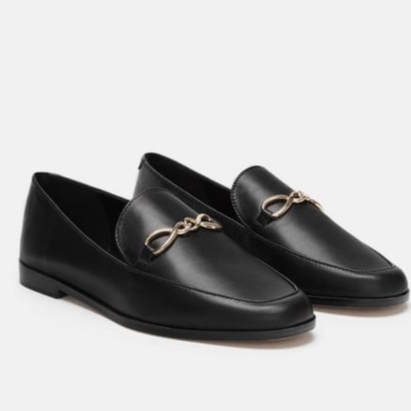 Zara Black Leather Loafers With Gold Bar Size 8